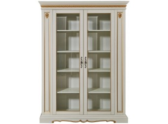 Книжный шкаф для гостиной «Милана 5/1» П396.04 (слоновая кость с золочением)