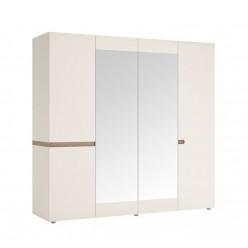 Четырехстворчатый шкаф для одежды с зеркалом Линате 4D/TYP 23A