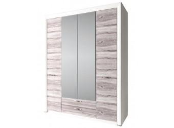 Четырехстворчатый шкаф для одежды с зеркалом Оливия 4D2S Z