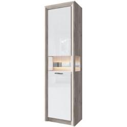 Шкаф с витриной 1V1D ORLANDO цвет каштан найроби/белый глянец