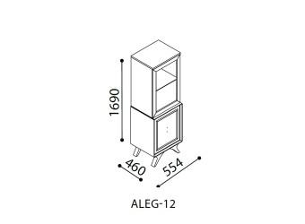 Одностворчатый шкаф витрина для посуды в гостиную Алегро ALEG-12