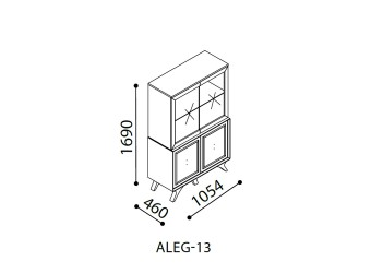 Двухстворчатый шкаф витрина для посуды в гостиную Алегро ALEG-13