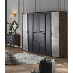 Шестистворчатый распашной шкаф для одежды и белья с зеркалом в спальню Алегро ALEG-34