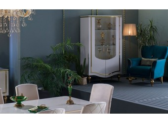 Двухстворчатый шкаф витрина для посуды в гостиную Кастелло CAST-13