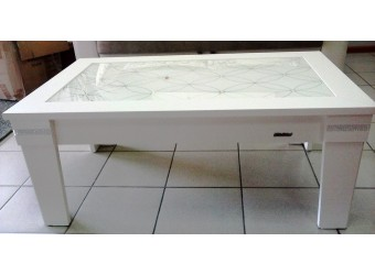 Журнальный столик в гостиную Мира MIRA-08 белый со стеклом