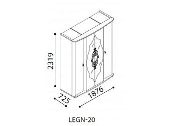 Пятистворчатый шкаф Легенда белый LEGN-33