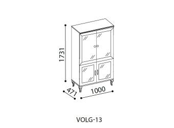 Двухстворчатый шкаф витрина для посуды в гостиную Волга(белая) VOLGA-13