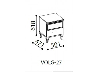 Прикроватная тумба Волга(светлая) VOLGA-27