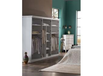 Шестистворчатый распашной шкаф для одежды и белья с зеркалом в спальню Волга(светлый) VOLGA-34