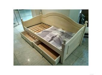 Односпальная кровать Лотос сосна (брашированный крем)