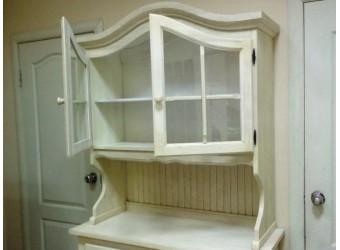 Настенный шкаф-витрина Лотос сосна Б-1076BRU (брашированный крем)
