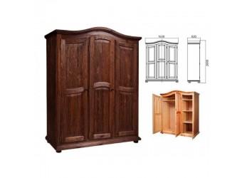 Трехстворчатый шкаф для одежды Лотос сосна (брашированный мокко)