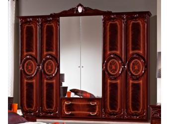 Шестистворчатый шкаф для одежды Роза (могано)
