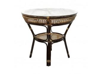 Обеденный стол Java Classic Rattan 11/23-A из ротанга со стеклом