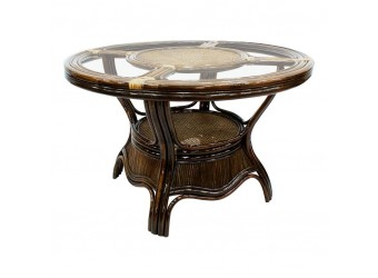 Обеденный стол Saturn (KD) Classic Rattan 11/20 из ротанга со стеклом