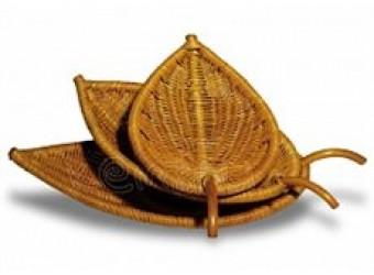 Комплект подносов Classic Rattan 21/03 из ротанга в форме листа из 3х Leaf