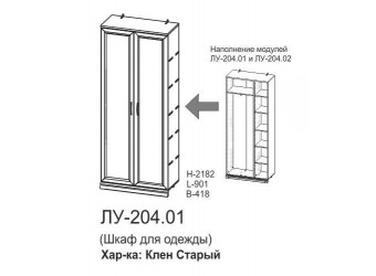 Двухстворчатый шкаф Луара ЛУ-204.01