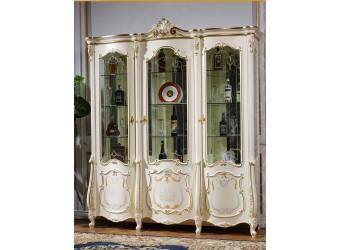 Трехстворчатый шкаф-витрина для посуды Магдалена КА-ШВ-3 слоновая кость