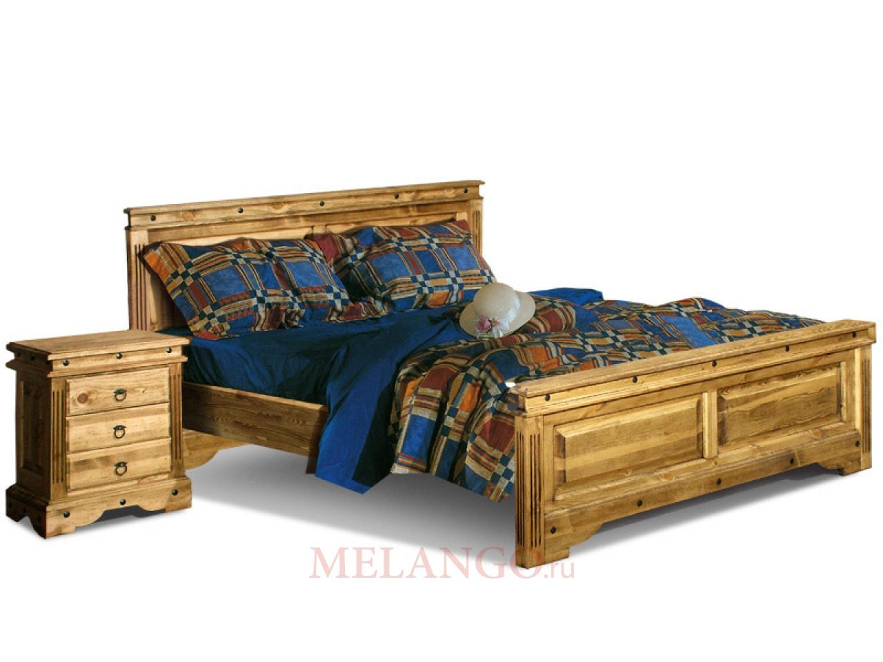 Двуспальная кровать  Викинг 01 (искусственное старение)