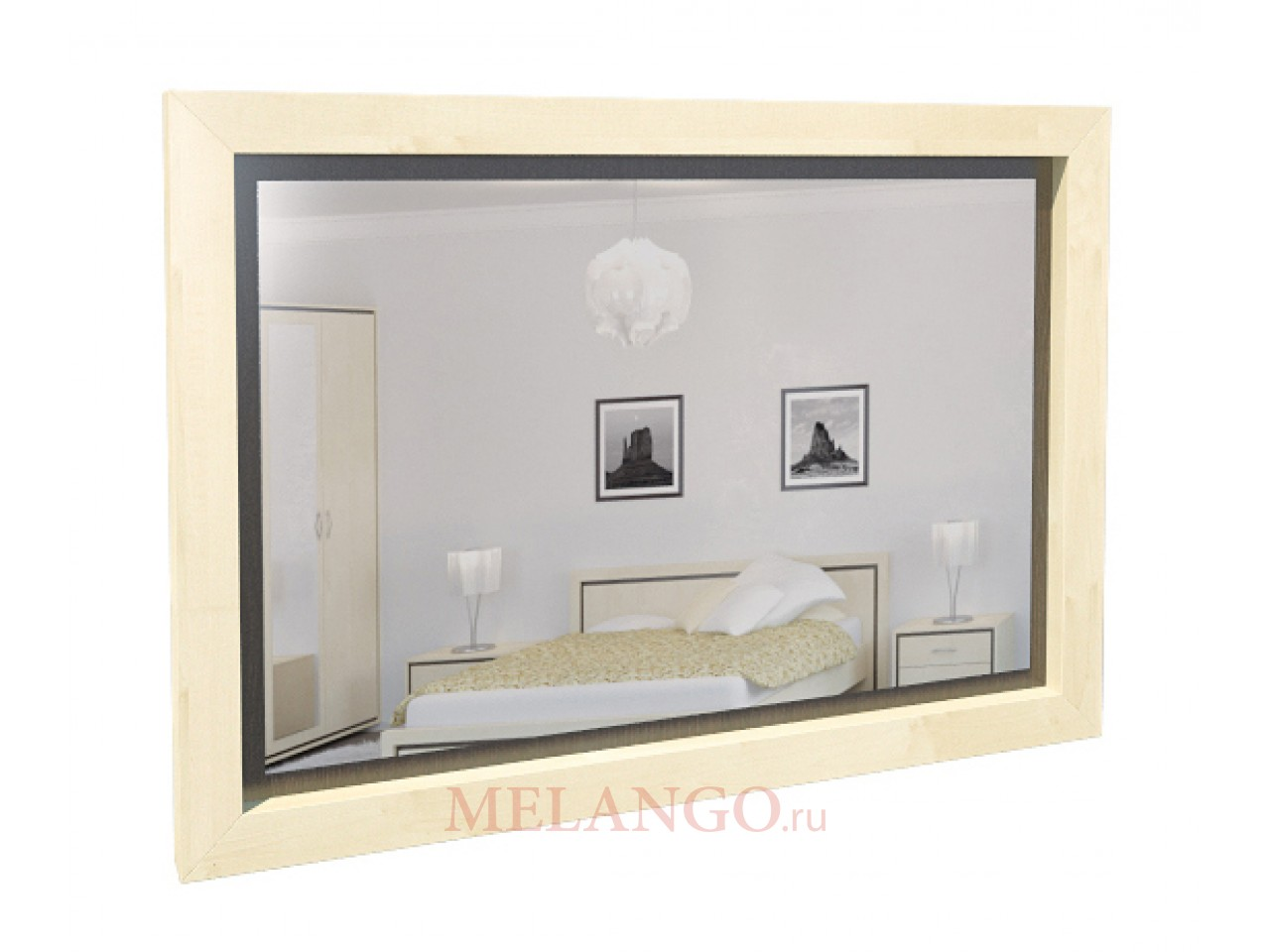 Прямоугольное настенное зеркало в спальню Глория МН-210-04