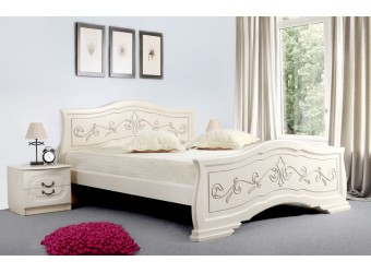 Кровать Людмила-14 ясень жемчужный с патиной