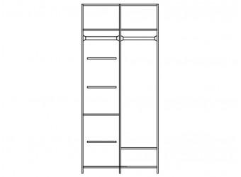 Шкаф для одежды Нинель ММ-167-01/03 (белая эмаль)