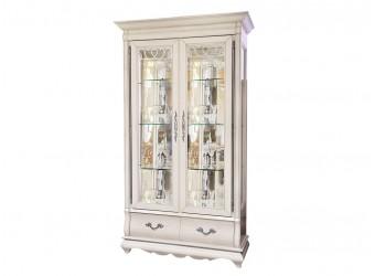 Шкаф с витриной Оскар ММ-210-02 (белая эмаль+пт)