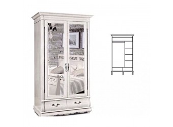 Шкаф для одежды Оскар ММ-216-01/02 (белая эмаль+пт)
