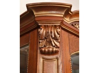 Шкаф с витриной «Альба 8» П485.08-01 (слоновая кость с золочением)