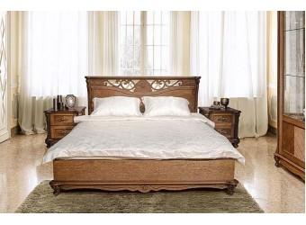 Кровать двойная Алези (античная бронза) с подъемным механизмом,низкое изножье