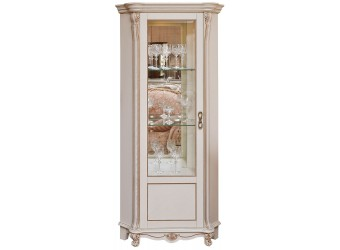 Шкаф-витрина «Алези 10» П 350.13-01 (слоновая кость с золочением)