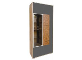 Шкаф-витрина «Гелиос» П550.01 (дуб вотан/серый глянец)