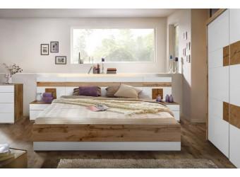 Спальня Гелиос (дуб вотан/белый глянец)