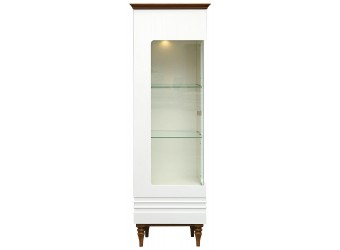 Шкаф-витрина «Ирис» П529.01 (белый глянец/дуб рустикаль)