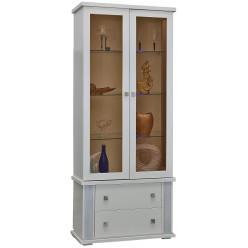 Шкаф с витриной «Тунис» П343.22Ш (слоновая кость с серебром)