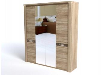 Четырехстворчатый шкаф для одежды СМ-10 (ДБ) Магнолия с зеркалом