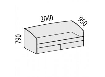 Односпальная кровать Акварель 53.11 с выдвижными ящиками