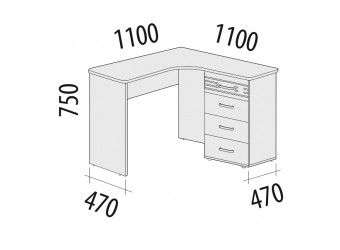 Угловой компьютерный стол Британия 52.15