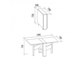 Раскладной стол-книжка Колибри 15 лайт дуб венге