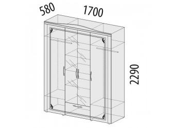 Четырехстворчатый шкаф для одежды с зеркалом Версаль 99.14