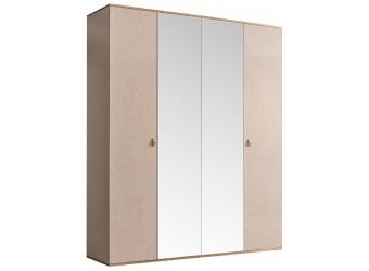 Четырехстворчатый шкаф для одежды с зеркалом Rimini РМШ1/4 (латте)
