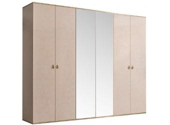 Шестистворчатый шкаф для одежды с зеркалом Rimini РМШ1/6 (латте)