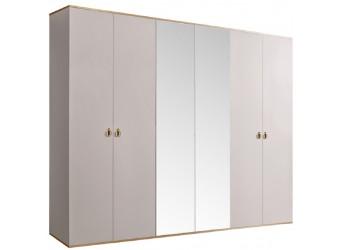 Шестистворчатый шкаф для одежды с зеркалом Rimini РМШ1/6 (слоновая кость)
