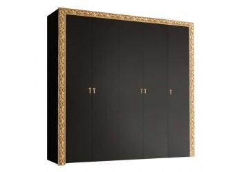 Пятистворчатый шкаф для одежды Тиффани Премиум ТФШ2/5(П) (черный, золото)