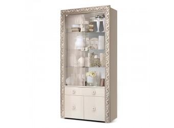 Шкаф-витрина для посуды Тиффани Премиум ТФВ1-2С(П) (слоновая кость, серебро)