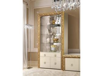 Шкаф-витрина для посуды Тиффани Премиум ТФВ1-2С(П) (слоновая кость, золото)